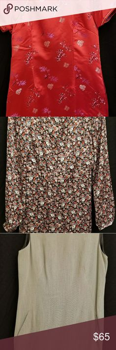 Lot of 3 dresses 1 Red Chinese dress size L 1 Forever 21 floral  dress  size L 1 DKNY grey dress with pockets size 10 Dresses