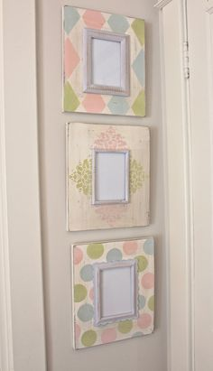 Floral, Harlequin, Polka Dot Distressed Wood Hand Painted Picture Frame Set/Grouping for Baby Nursery Picture Frame Chalkboard, Painted Picture Frames, Picture Frame Decor, Picture Frame Sets, Decoupage, Wall Painting Living Room, Baby Frame, Ideias Diy, Frame Crafts