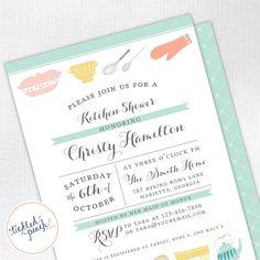 Vintage Kitchen Bridal Shower Invitation - mint - Custom Bridal Shower Invite