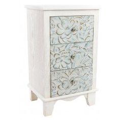 Mesa de noche madera tallada blanco azul envejecido 3 cajones exótico