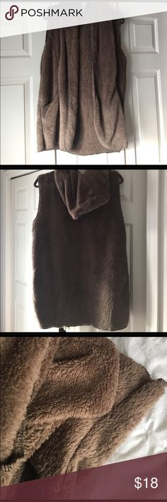Brown Fuzzy Vest Super cute to wear with anything, especially over a flannel or long sleeve :) such an awesome staple to any outfit! price firm Tobi Jackets & Coats Vests