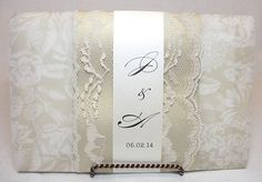 ZANA Lace Wedding Invitation, Invite, Vintage, Shabby Chic, Couture, Elegant. $900.00, via Etsy.