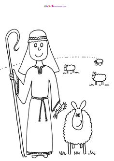 sheep coloring pages preschool nativity animals Pinterest