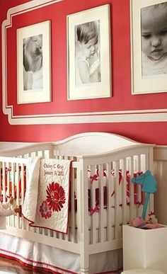 I like how they painted a border around the cluster of three frames. I would like to do this with baby pictures in black in white in another room of house.