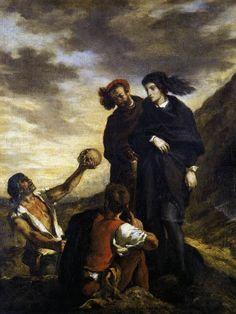DELACROIX, Eugène French Romantic (1798-1863)_Hamlet and Horatio in the Graveyard 1839