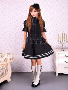 Cotton Black Lace Lolita Blouse - Milanoo.com