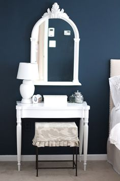 Benjamin Moore Gentleman's Gray Dark Blue Bedroom Paint Color