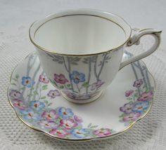 Vintage Royal Albert Tea Cup and Saucer, Bone China, Dell Pattern with Pink, Purple, and Blue Flowers