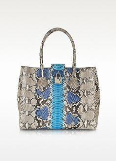 Roberto Cavalli Nuova Florence Azure Pyton Handbag  #bags  #jewelexi