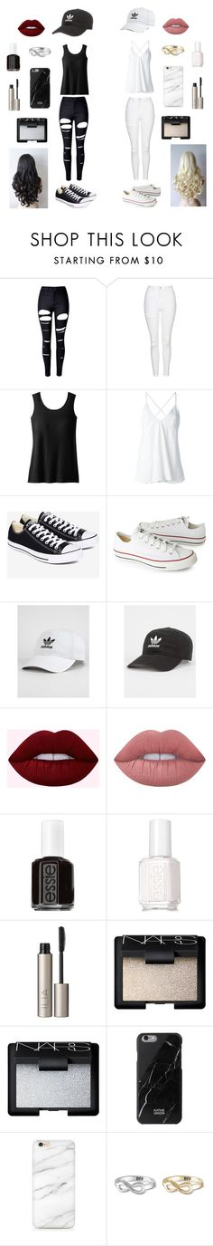 """""""Black & White"""" by rachelakopp on Polyvore featuring WithChic, Topshop, TravelSmith, Dondup, Converse, adidas, Lime Crime, Essie, Ilia and NARS Cosmetics"""