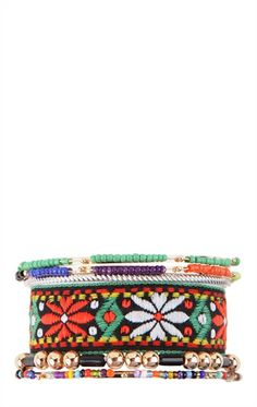 Deb Shops Beaded Bracelet Set with Embroidered Strap