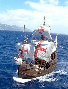 Ship replica: With the Santa Maria in Columbus 'wake - WORLD - When replicating the Santa Maria, great value was placed on the original – right down to the cros - Canoa Kayak, Old Sailing Ships, Full Sail, Wooden Ship, Knights Templar, Model Ships, Tall Ships, Water Crafts, Kayaking