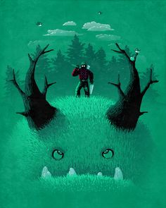 Lumberjack by vinsse aka vintz. I love this green guy! Character Illustration, Graphic Design Illustration, Illustration Art, Design Illustrations, Cgi, Aliens, Dragons, Robot Monster, Monster Under The Bed