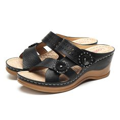 aa90588a6630e LOSTISY Hollow Out Slippers Soft Wedge Sandals For Women