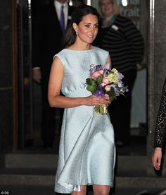 4/24/13.  Kate Middleton pregnant: Duchess of Cambridge dresses the royal bump in designer baby blue dress as she visits National Portrait Gallery | Mail Online