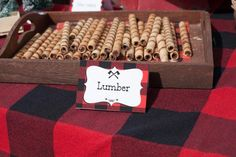 Little lumberjack first birthday party lumber snacks Lumberjack Birthday Party, Wild One Birthday Party, Baby Boy Birthday, Boy Birthday Parties, Lumberjack Cake, First Birthday Camping Theme, Birthday Ideas, Camping Themed Party, Camping Party Decorations