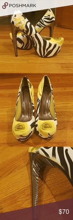 "LOVE THESE! Yellow Roses & Zebra Print. LOVE THESE! Yellow Roses & Zebra Print. Heads are sure to turn when you wear these stunning beauties. Worn1x. Very comfortble & Fun. Too many shoes! These deserve a home where they will be showed off! Yellow, black & white. Unique silver somewhat concave heels. Patform: 2"" Heel: 6"" Lady Couture Shoes Platforms"