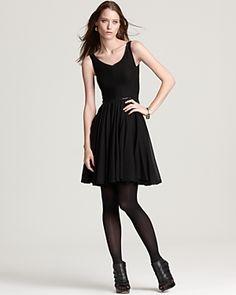 Z Spoke Zac Posen - Leather Trim Pleated Dress