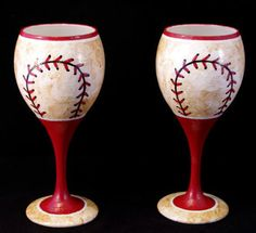 Red and White Worn Baseball Hand Painted Wine Glasses - Set of 2!