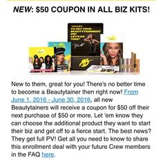 Only for the month of June, included in your biz kit will be your TYover valued at $131 and your biz cards and brand new to the kit for the month of June ONLY is a $50 coupon towards your next purchase, and we all know you will be making a purchase, all yours for $89... www.tyra.com/vanna4197