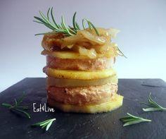 Mil hojas de patata, manzana y foie gras