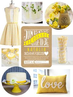 This bright yellow inspiration board is perfect for a spring bridal shower.