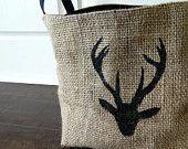 X-Large Coffee Sack Basket - Deer, Black lining