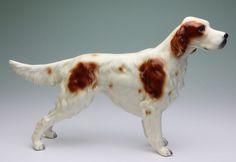 Irish Red and White Setter Standing Dog Porcelain Figurine Japan Glossy Finish