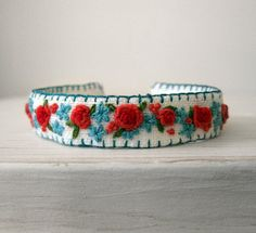 Boho Cuff Bracelet - Hand Embroidered Roses in Red and Coral