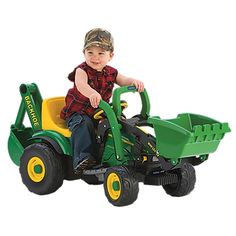 Silly boy, tractors are for girls! Mommy drives a big orange tractor with a frontloader on it, and Z would get a kick out of scoopin' up dirt and piling it up with this kiddie tractor with loader and backhoe!  Geeze, I might even put this on MY wishlist!