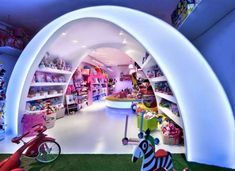 Pilar s Story Toyshop by Elia Felices Spanish designer Elia Felices has completed the interior of a toy shop in Barcelona Pilar s Story Toyshop by Elia nbsp hellip Shop Interior Design, Retail Design, Store Design, Backlit Bathroom Mirror, Kids Toy Store, Shopping In Barcelona, Love Store, Retail Concepts, Toys Shop