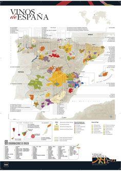 Mapa de los vinos de España y sus 69 denominaciones de origen (DO)