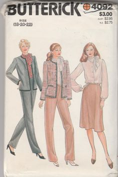 Vintage Butterick 4092 Size 18-20-22 Misses' Jacket, Blouse, Skirt & Pants Sewing Pattern Uncut by LadybugsandScorpions on Etsy
