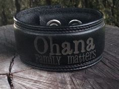 Ohana Family matters black leather cuff by HarmonieCuffs on Etsy