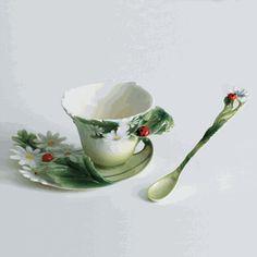 Ladybug design sculptured porcelain cup/saucer set, and spoon