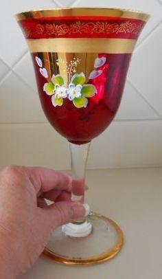 Vintage Bohemian Czech Ruby Red Chalice 24K Gold Enamel Glass Goblet
