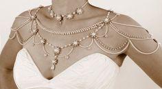 Collar para los hombros, nupcial del estilo del Victorian, las perlas y el Rhinestone, cristales, joyería OOAK nupcial, joyería