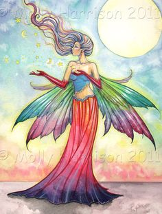 Fairy Faery Art Print by Molly Harrison - Star Gatherer - Beautiful Fantasy Watercolor Art Print 12 Fantasy Kunst, Fantasy Art, Fairy Coloring, Coloring Books, Adult Coloring, Decoupage, Unicorns And Mermaids, Fantasy Creatures, Mythical Creatures