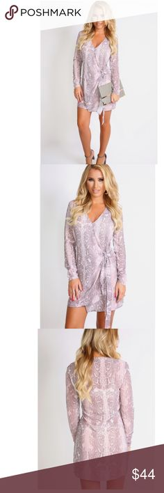"""NWT Billie Faiers Snake Print Shirt Dress Size 2 NWT gorgeous grey and rose snake print tie front dress by Billie Faiers. It is a size UK 6 = US 2. It is approx 33"""" in length. 100% polyester. No trades. Reasonable offers only. Billie Faiers Dresses Mini"""