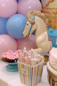 Gorgeous carousel baby shower party! See more party ideas at CatchMyParty.com!