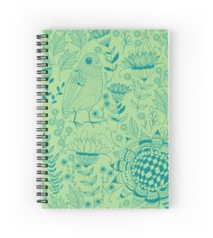 Bird and flowers doodle pattern green by katerinamk #redbubble #notebook