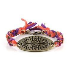Brass Pyramid Reflection Charm with Coral and Purple Leather in Chains Bracelet - Ettika