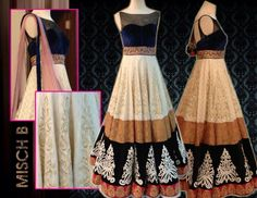 Floor anarkali with multiple borders. Get this outfit in your measurements and unique combinations on www.faaya.in