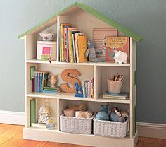 A book shelf for a baby's room, turns into a doll house for your growing toddler!! Link corrupted but tuto here   http://ana-white.com/2009/12/plan-dollhouse-bookcase-knock-off-of.html