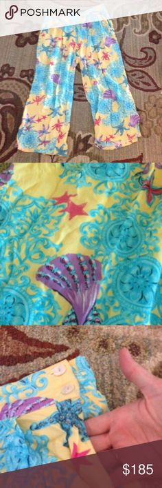 Vintage  90s palazzo  pants Not Lilly pulitzer. Nautical star fish and sea shells Lilly Pulitzer Pants
