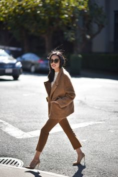 All camel and a touch of lace today – re-wearing some favorites! *** Trousers – Theory (here) Blouse – thanks to LOFT (here) Jacket – Marni (bought it here) Heels – Gianvito Rossi (still available here | similar for less here and here) Sunglasses – Linda Farrow (bought it here) Watch – thanks to Tory Burch …