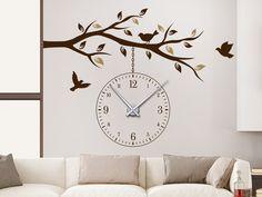 Einzigartiges Wanduhren Design: Wandtattoo Uhr Ast mit Vögeln von WANDTATTOO.DE