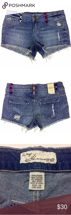 """Vintage Havana Embroidered Destroyed Shorts NWT 26 Vintage Havana products are young contemporary and tend to run small. If in between sizes, they suggest sizing up one size.  Item Specifics: Brand: Vintage Havana Size: US Juniors 26 Style: P1605 Color: Medium Wash New with Tags: Yes Hidden Zipper: Yes Features: 2 front pockets, 2 back pockets Materials: 98% Cotton, 2% Spandex  Measurements in Inches laid flat: Inseam: 2.5"""" Outseam: 9"""" Rise: 8"""" Waist: 14"""" Hips: 16.75"""" Leg Opening: 10.5""""…"""