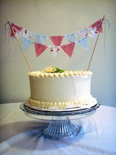 Cake Bunting Summer Picnic Topper on Bakers Twine by BooBahBlue, $20.00