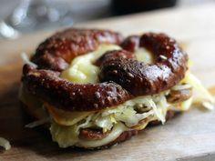 Bratwurst Sauerkraut Muenster Grilled Cheese on Pretzel